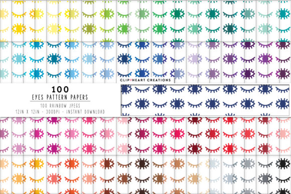 100 Eye Pattern Papers Graphic Backgrounds By clipheartcreations
