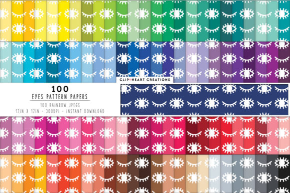 Download Free 100 Eyes Pattern Papers Graphic By Clipheartcreations Creative for Cricut Explore, Silhouette and other cutting machines.
