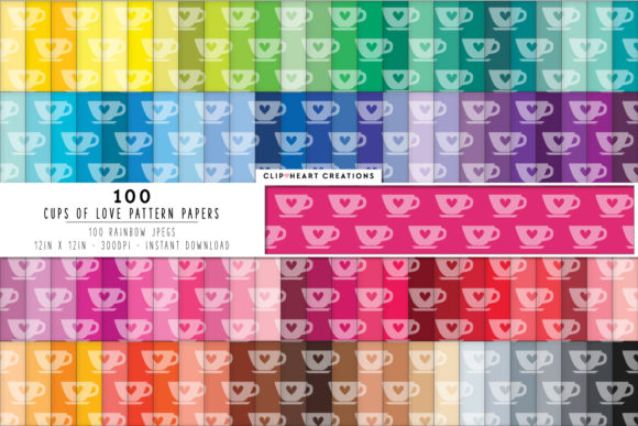 100 Teacup Pattern Papers Graphic Backgrounds By clipheartcreations