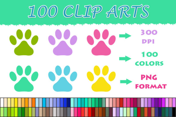 100 Dog Paw Clipart Graphic Illustrations By SweetDesign