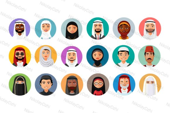 Download Free 18 Flat Middle Eastern Avatars Graphic By Niko Dzhi Creative for Cricut Explore, Silhouette and other cutting machines.