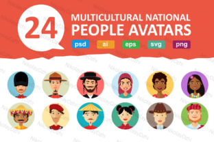 Download Free 24 Multicultural National Avatars People Graphic By Niko Dzhi for Cricut Explore, Silhouette and other cutting machines.
