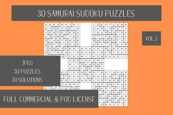Print on Demand: 30 Samurai Sudoku Puzzles Vol.3 Graphic Teaching Materials By Fleur de Tango