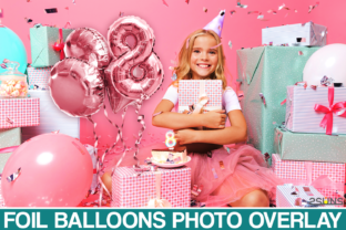 45 Foil Pink Rose Balloons Overlay Graphic Actions & Presets By 2SUNS