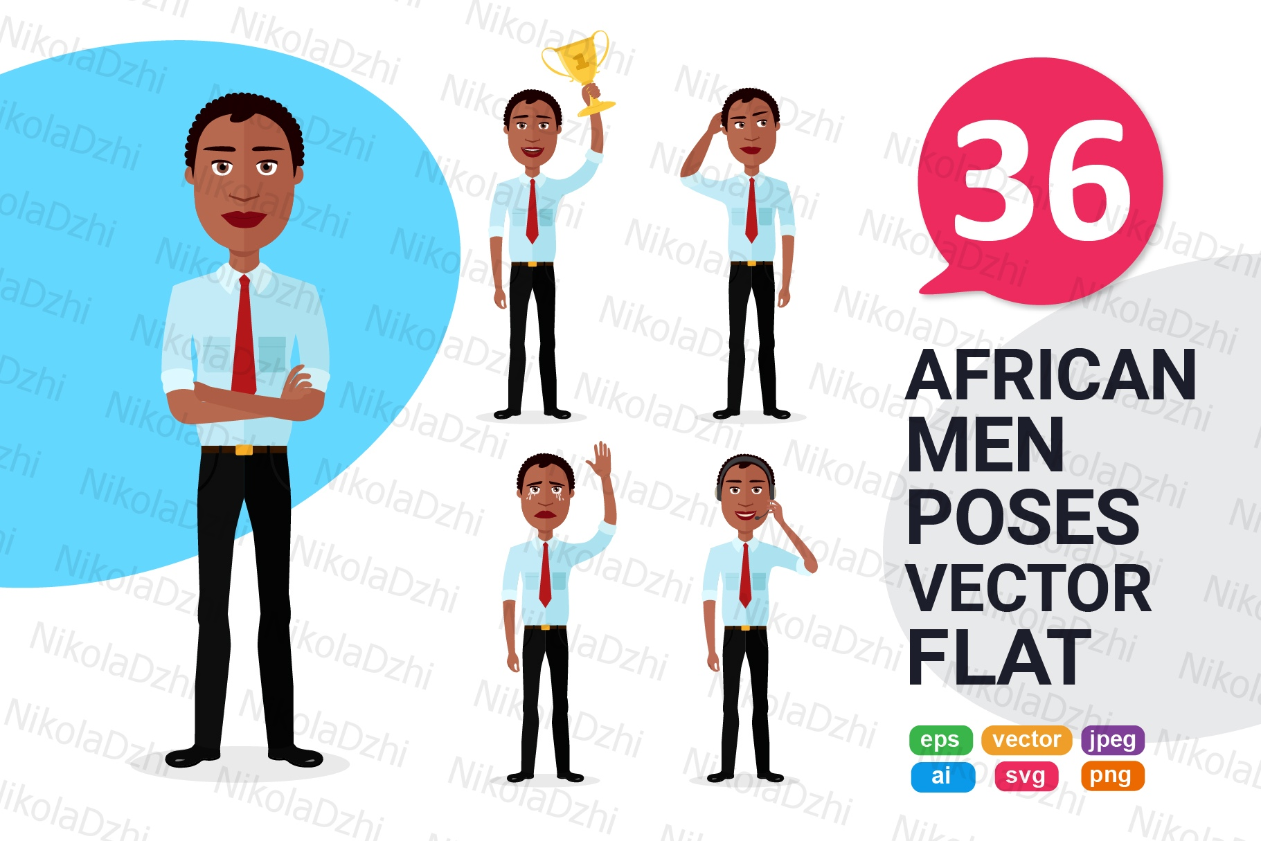 Download Free African Men Character Cartoon Vector Graphic By Niko Dzhi for Cricut Explore, Silhouette and other cutting machines.
