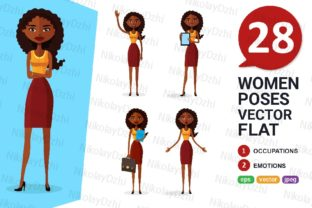 Download Free African Woman Animated Vector Set Graphic By Niko Dzhi for Cricut Explore, Silhouette and other cutting machines.