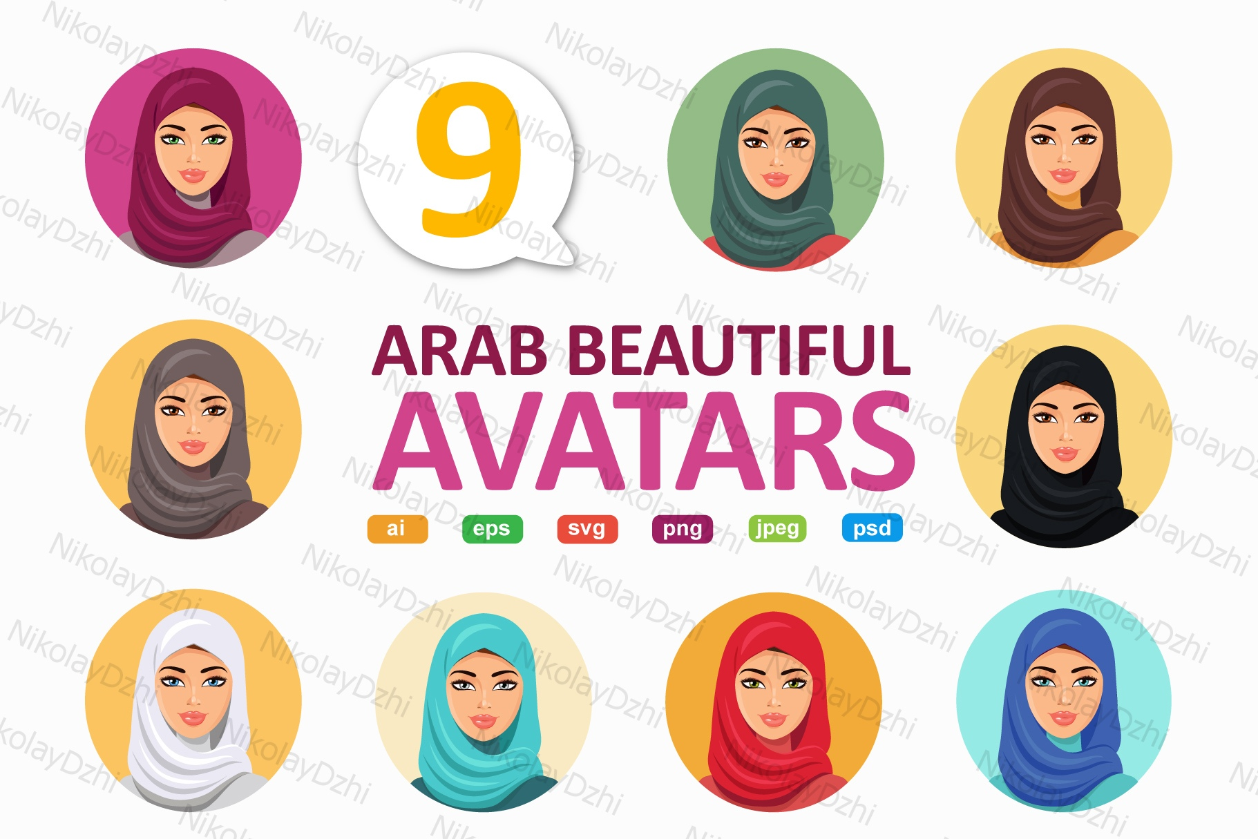 Download Free Arab Women Avatars Middle Eastern Avatar Graphic By Niko Dzhi for Cricut Explore, Silhouette and other cutting machines.