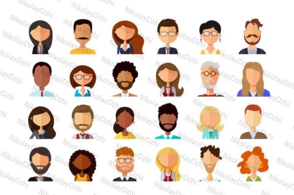 Download Free Avatars Cartoon People Vector Business Graphic By Niko Dzhi for Cricut Explore, Silhouette and other cutting machines.