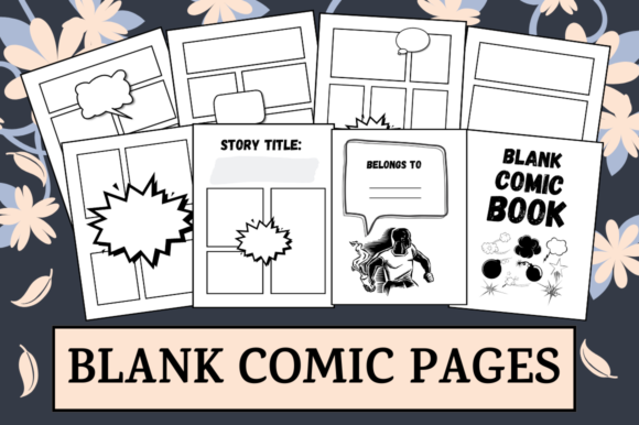 Download Free Blank Comic Pages Activity Book Kdp Graphic By Hungry Puppy for Cricut Explore, Silhouette and other cutting machines.