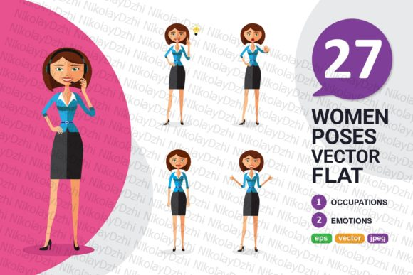 Download Free Business Flat Woman Collection Vector Graphic By Niko Dzhi for Cricut Explore, Silhouette and other cutting machines.