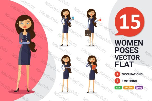 Business Woman Character Cartoon Vector Graphic Illustrations By Niko Dzhi