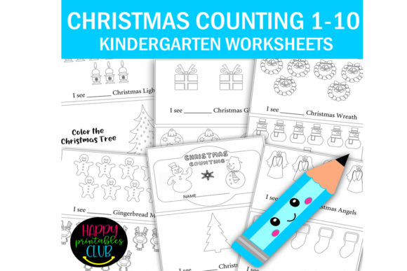 Download Free Christmas Counting 1 10 Kindergarten Graphic By Happy Printables for Cricut Explore, Silhouette and other cutting machines.