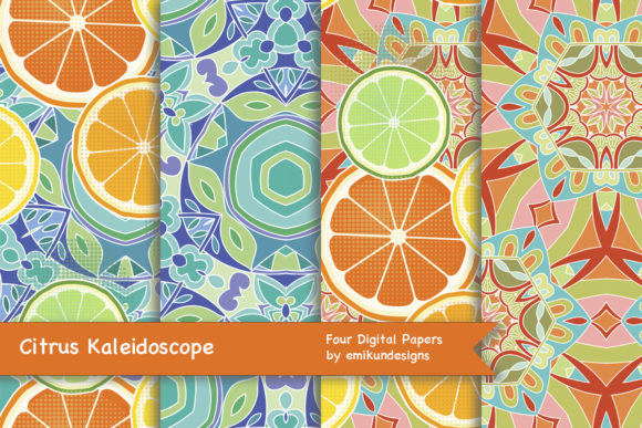Download Free Citrus Kaleidoscope Collection Graphic By Emikundesigns for Cricut Explore, Silhouette and other cutting machines.