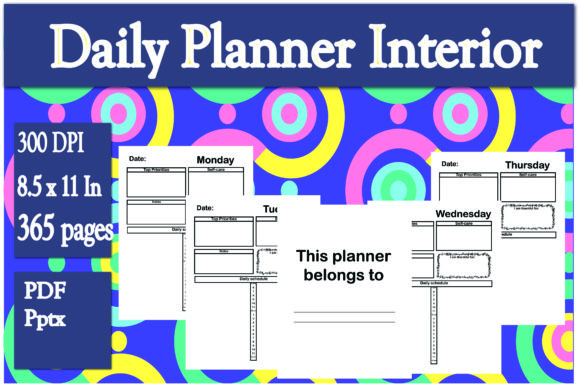 Print on Demand: Daily Planner Interior Graphic KDP Interiors By Ivana Prue