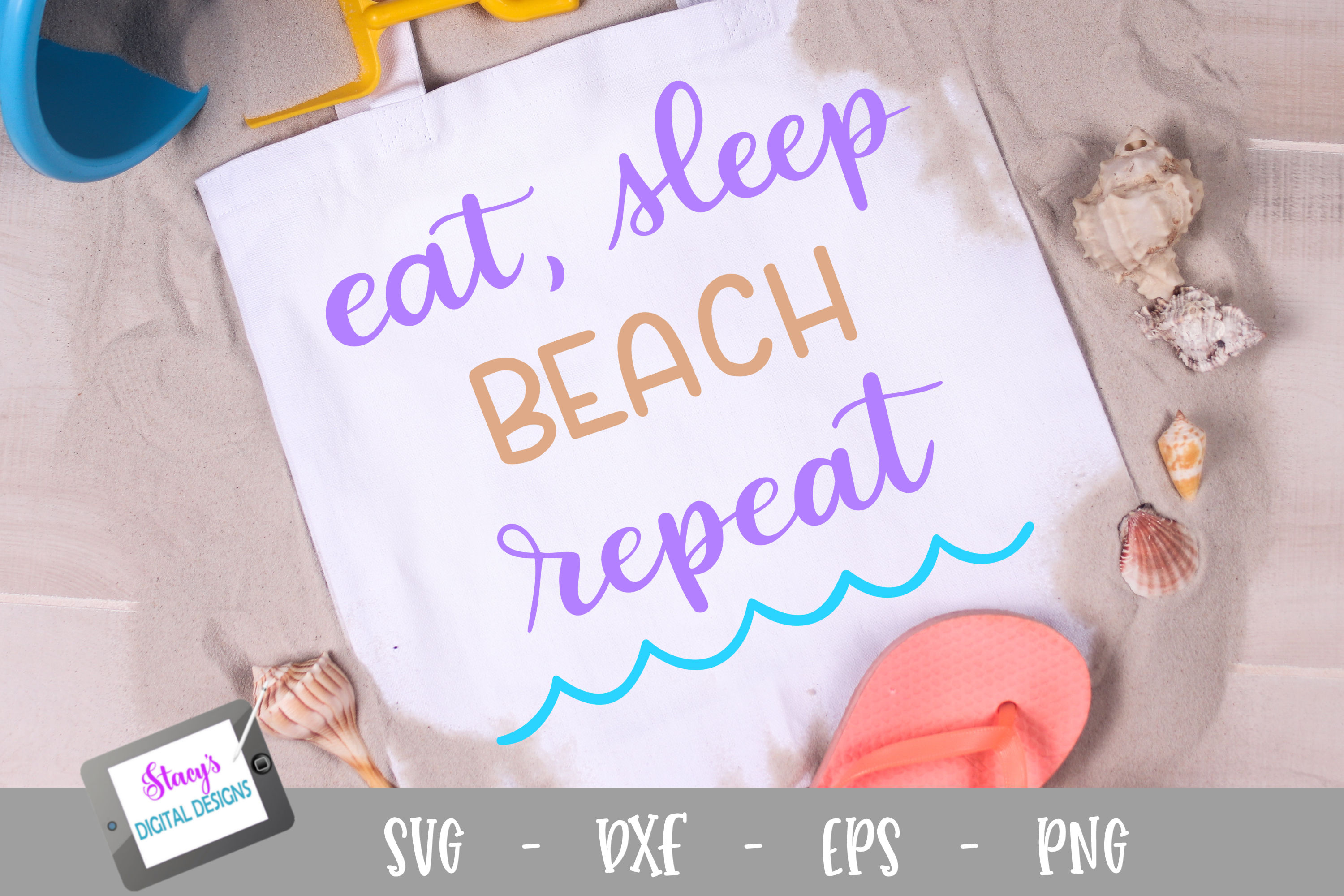 Download Free Eat Sleep Beach Repeat Graphic By Stacysdigitaldesigns for Cricut Explore, Silhouette and other cutting machines.