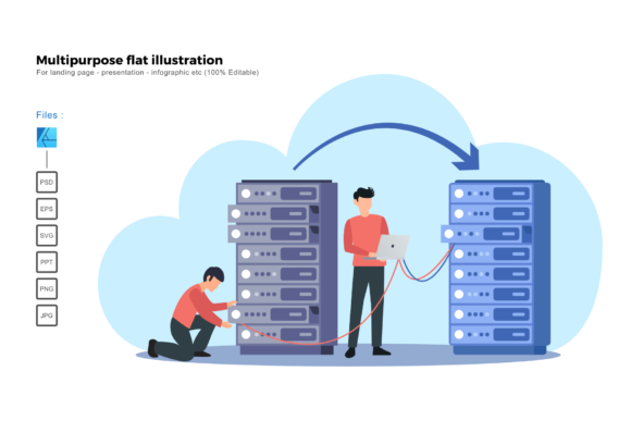 Download Free Flat Illustration Server Migration Graphic By Rivatxfz for Cricut Explore, Silhouette and other cutting machines.