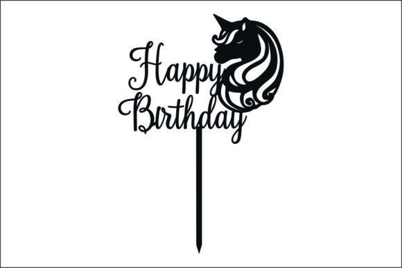Download Free Happy Birthday Topper Laser Cutting Graphic By Fast Store Creative Fabrica for Cricut Explore, Silhouette and other cutting machines.