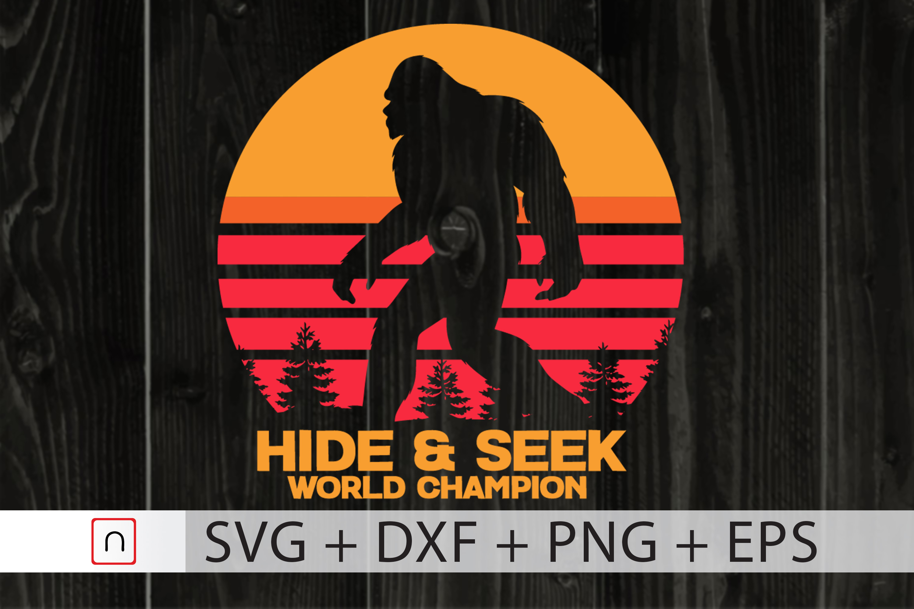 Download Free Hide And Seek World Champion Bigfoot Graphic By Novalia for Cricut Explore, Silhouette and other cutting machines.