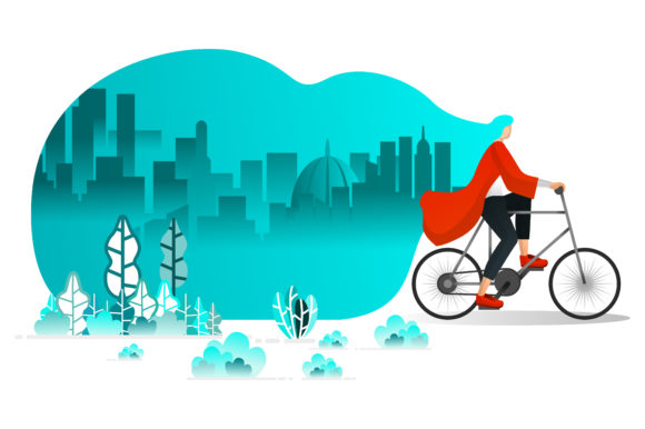 Download Free Illustration Of Riding Bicycle In Summer Graphic By for Cricut Explore, Silhouette and other cutting machines.