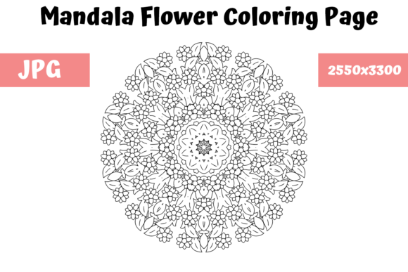 Download Free Mandala Flower Coloring Book Page 8 Graphic By Mybeautifulfiles for Cricut Explore, Silhouette and other cutting machines.