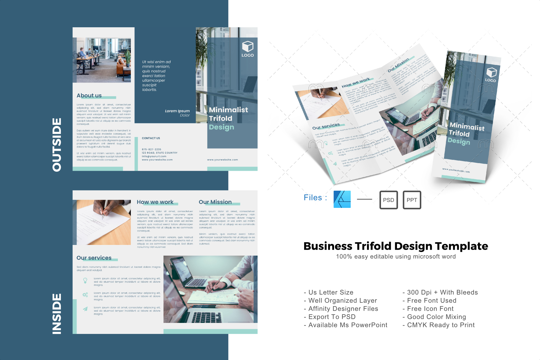 Download Free Minimal Trifold Brochure Design Template Graphic By Rivatxfz for Cricut Explore, Silhouette and other cutting machines.