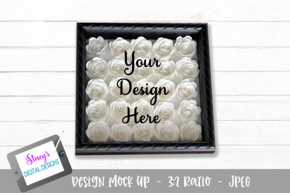Mock Up - Rolled Flower Shadow Box Graphic Product Mockups By stacysdigitaldesigns