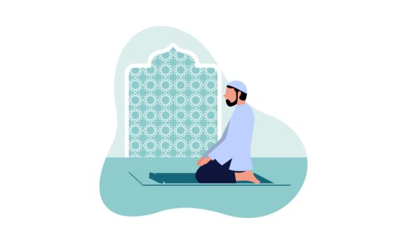 Download Free Muslim Man Practicing Shalat Islamic Graphic By Deemka Studio for Cricut Explore, Silhouette and other cutting machines.