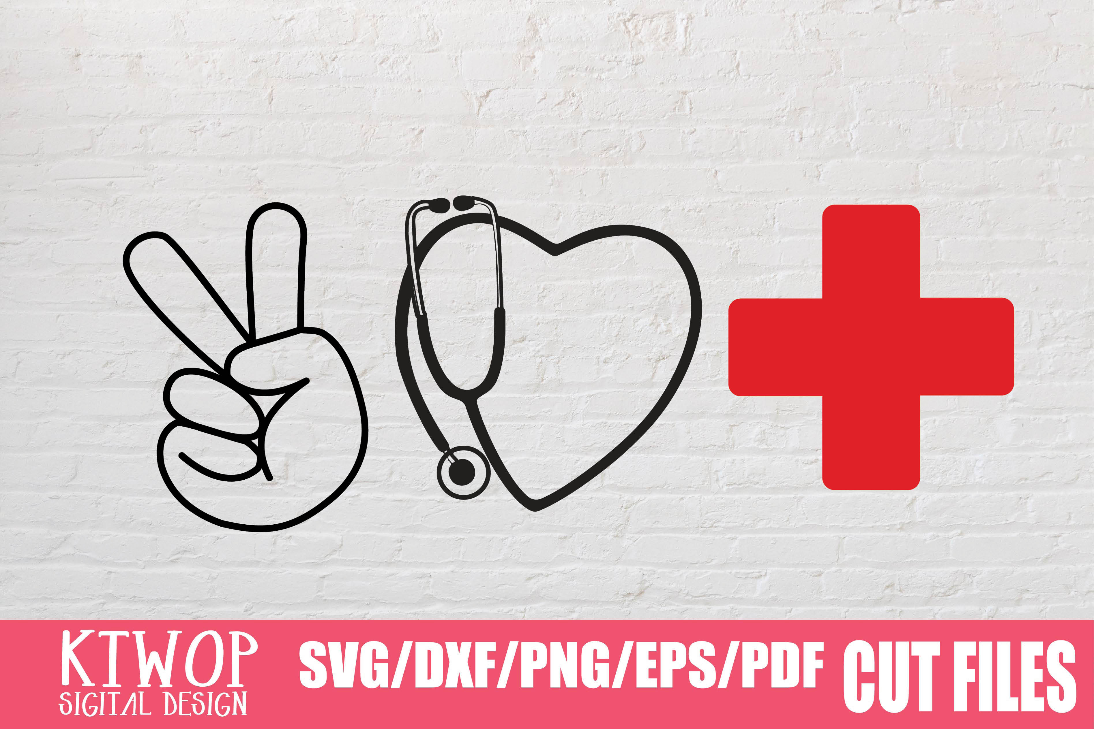 Download Free Peace Love Stethoscope Nurse 2020 Graphic By Ktwop Creative for Cricut Explore, Silhouette and other cutting machines.