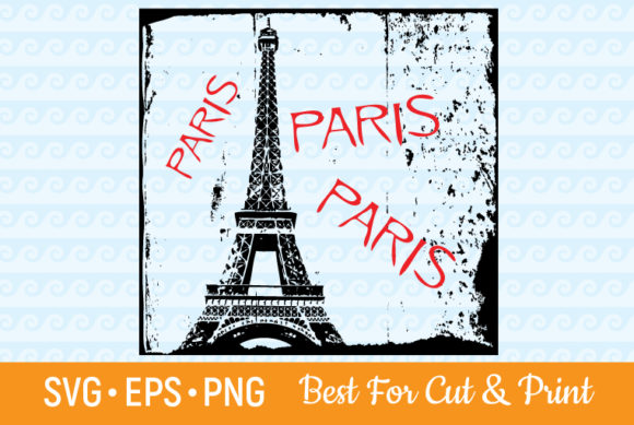 Download Free Paris France Eiffel Tower Grunge Graphic By Olimpdesign for Cricut Explore, Silhouette and other cutting machines.