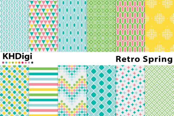 Retro Spring Digital Paper Graphic By Khdigi Creative Fabrica