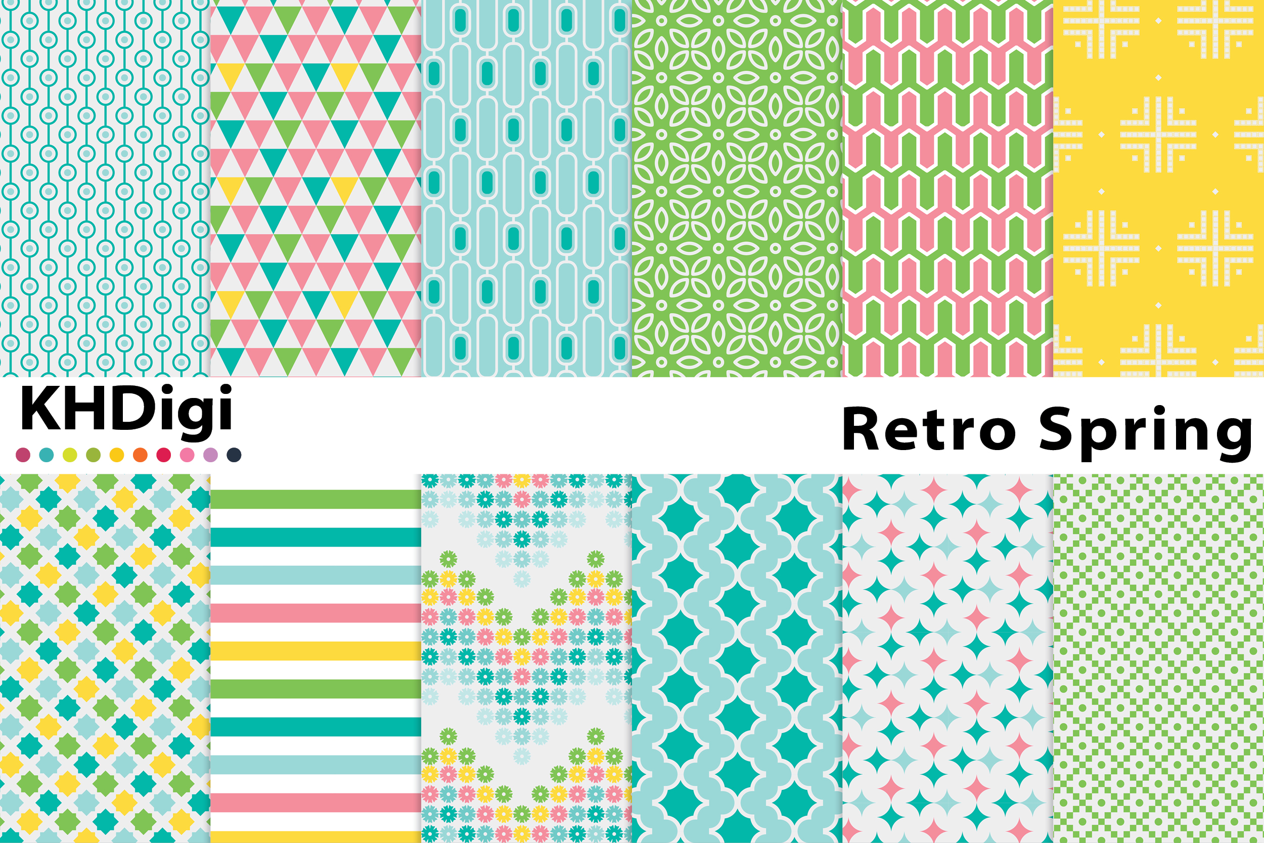 Download Free Retro Spring Digital Paper Graphic By Khdigi Creative Fabrica for Cricut Explore, Silhouette and other cutting machines.