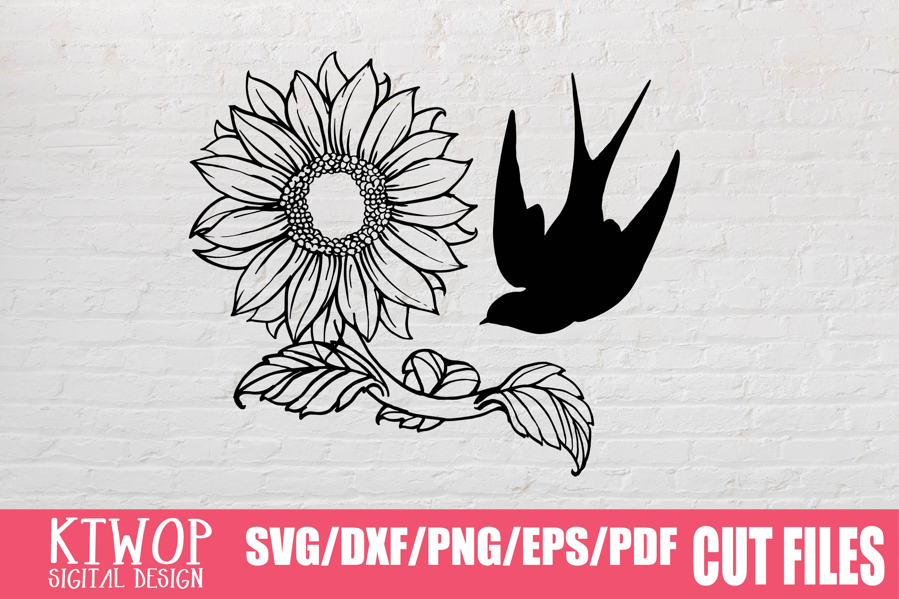 Download Free Sunflower And Bird Hand Drawn 2020 Graphic By Ktwop Creative for Cricut Explore, Silhouette and other cutting machines.