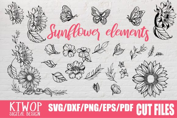 Print on Demand: Sunflower Elements Graphic Crafts By Mr.pagman - Image 1