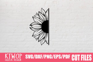 Download Free Sunflower Half Graphic By Ktwop Creative Fabrica for Cricut Explore, Silhouette and other cutting machines.