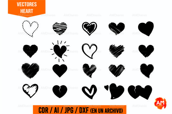 Download Free Vector Heart Icons Vinyl Laser Cut Graphic By Am Diseno for Cricut Explore, Silhouette and other cutting machines.