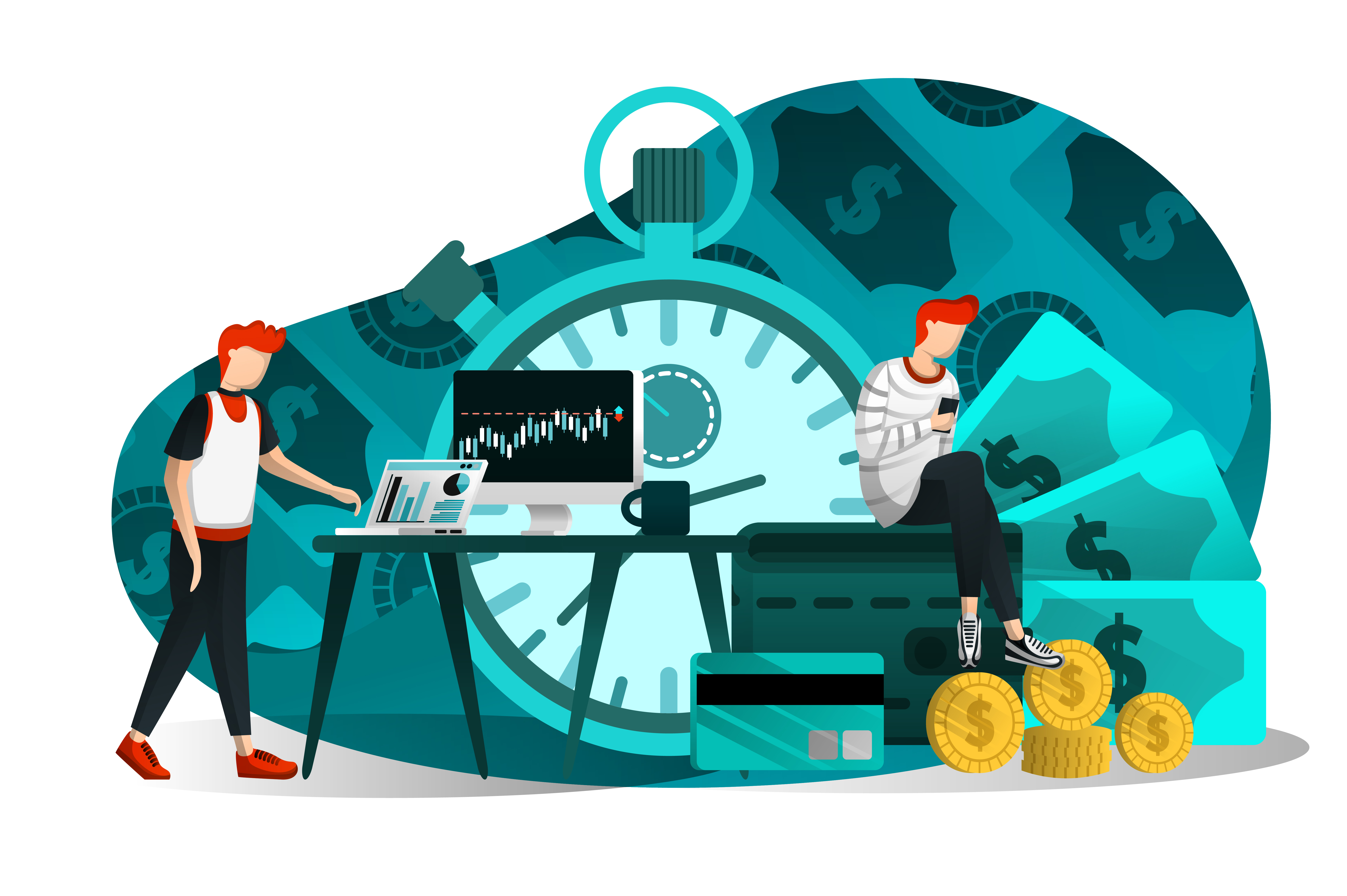 Download Free Vector Illustration Of Time Is Money Graphic By Setiawanarief111 for Cricut Explore, Silhouette and other cutting machines.
