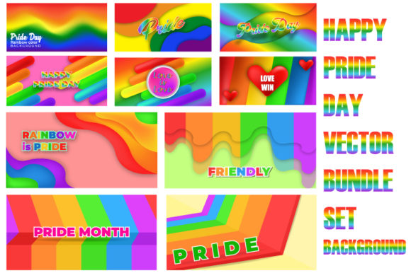 Print on Demand: Pride Day Cute Background Bundle Graphic Backgrounds By iop_micro