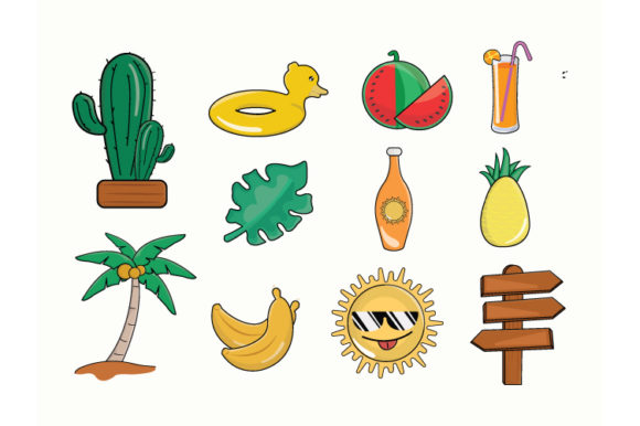 Print on Demand: Summer Cute Icon Doodle Bundle Graphic Illustrations By iop_micro