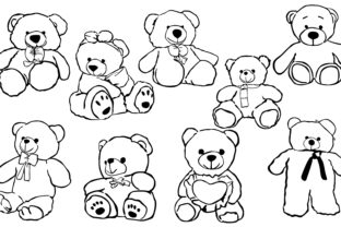 Print on Demand: Teddy Bear with Line Art Style Bundle Graphic Crafts By Arief Sapta Adjie