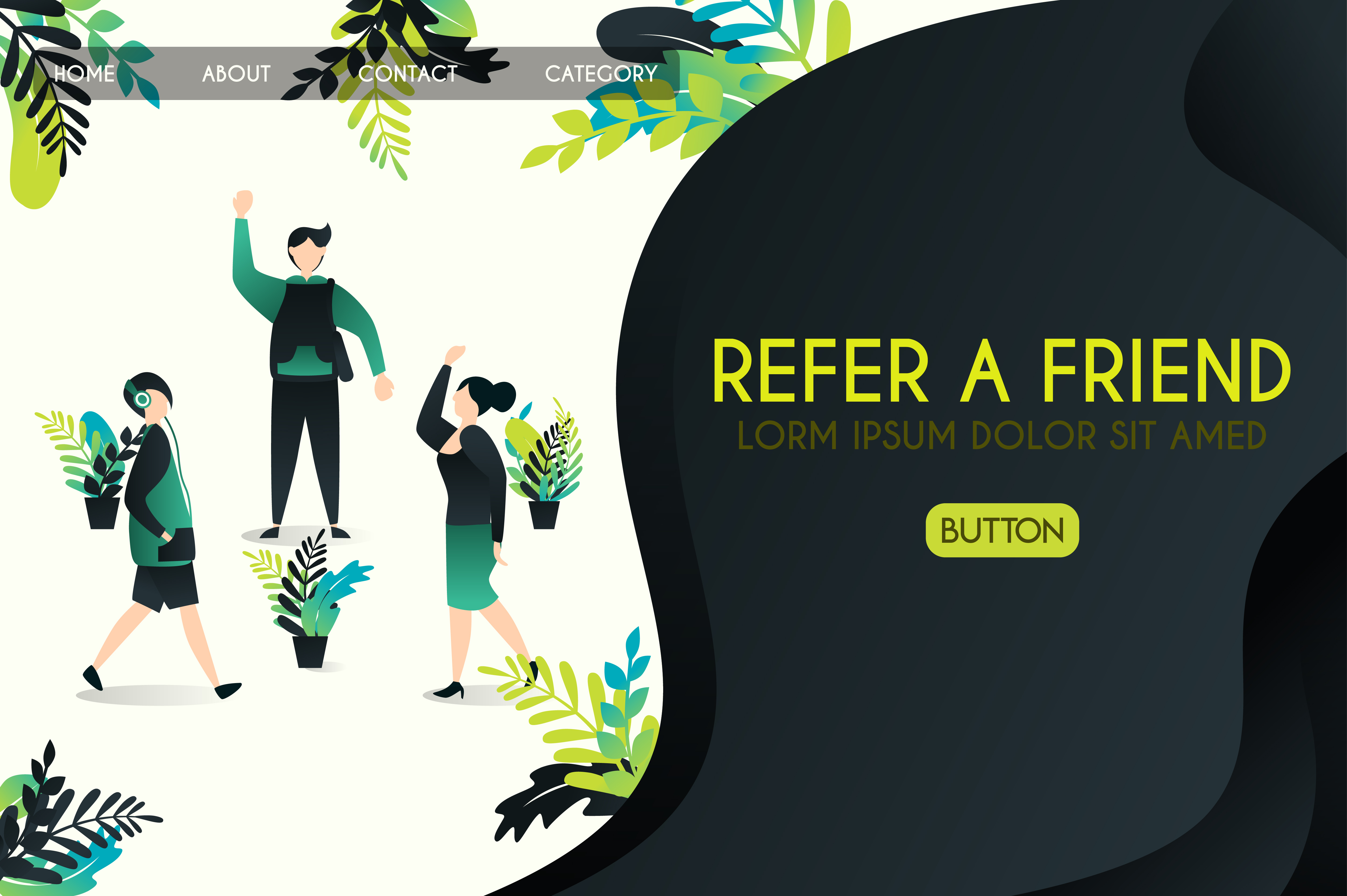 Download Free Vector Illustration Of Refer A Friend Graphic By for Cricut Explore, Silhouette and other cutting machines.