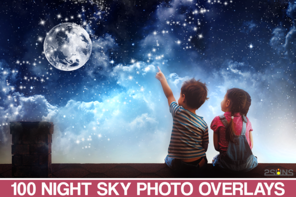 100 Night Sky Overlays Photoshop Graphic Free Download