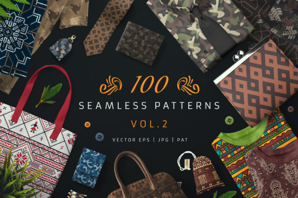 100 Seamless Patterns Vol.2 Graphic Patterns By pixaroma