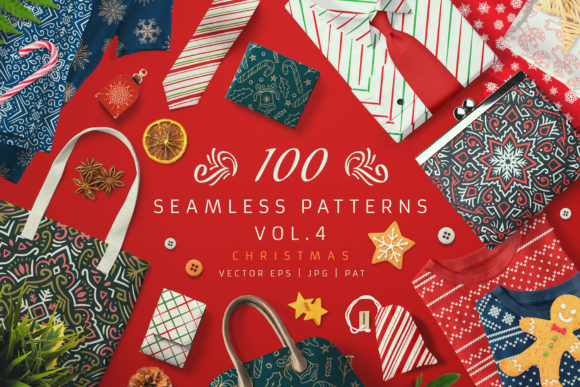 100 Seamless Patterns Vol.4 Xmas Graphic Illustrations By pixaroma