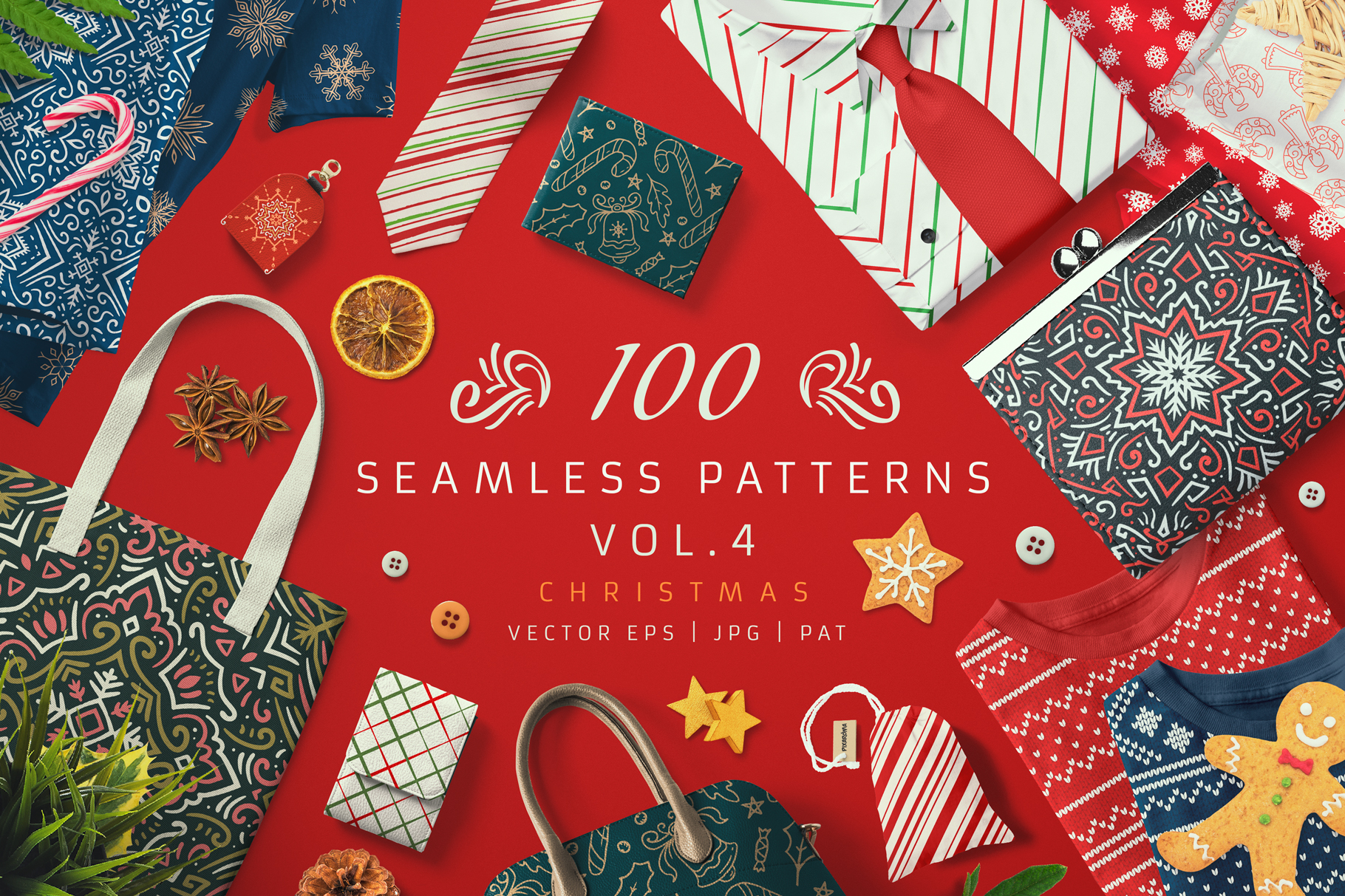 Download Free 100 Seamless Patterns Vol 4 Xmas Graphic By Pixaroma Creative for Cricut Explore, Silhouette and other cutting machines.