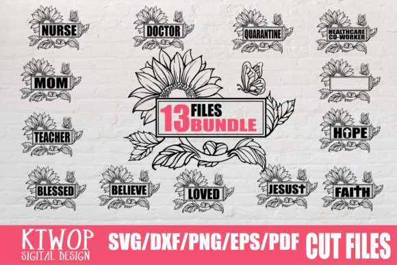 Print on Demand: 13 Files Sunflower Design Bundle Graphic Crafts By KtwoP