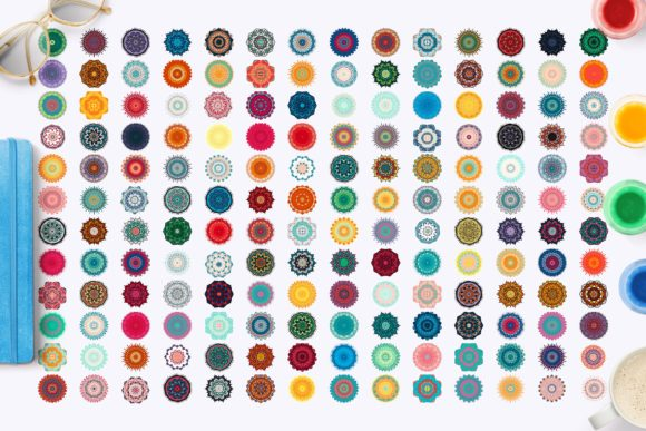 Print on Demand: 168 Colorful Mandalas Graphic Objects By barsrsind