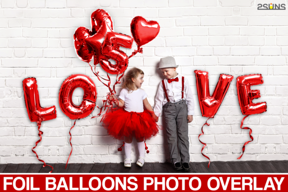 45 Foil Red Balloons Overlay Graphic Actions & Presets By 2SUNS