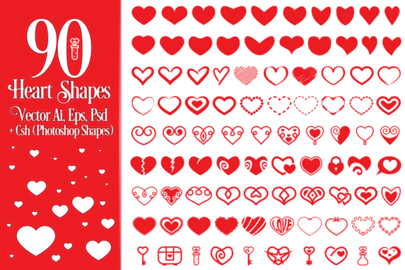 90 Vector Heart Shapes Graphic Illustrations By pixaroma