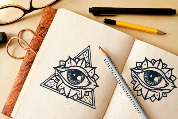 Download Free All Seeing Eye In Triangle Graphic By Barsrsind Creative Fabrica for Cricut Explore, Silhouette and other cutting machines.