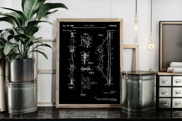 Download Free Archery Bow 1969 Patent Art Illustration Graphic By Antique for Cricut Explore, Silhouette and other cutting machines.